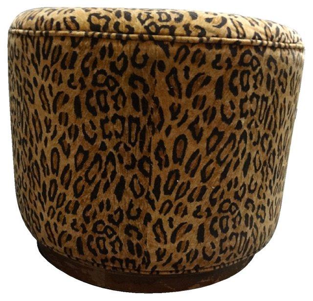 Leopard-Print Velvet Ottoman