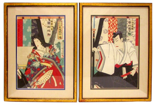 Japanese Woodblocks, Pair