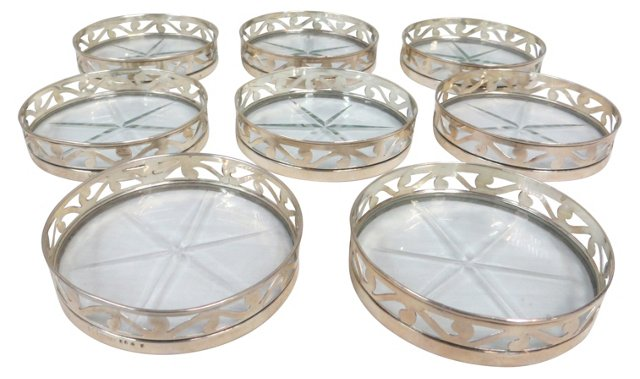 Sterling & Crystal Coasters, S/8