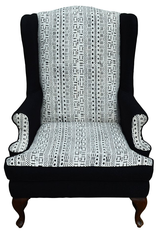 Wingback w/ African Mud     Cloth