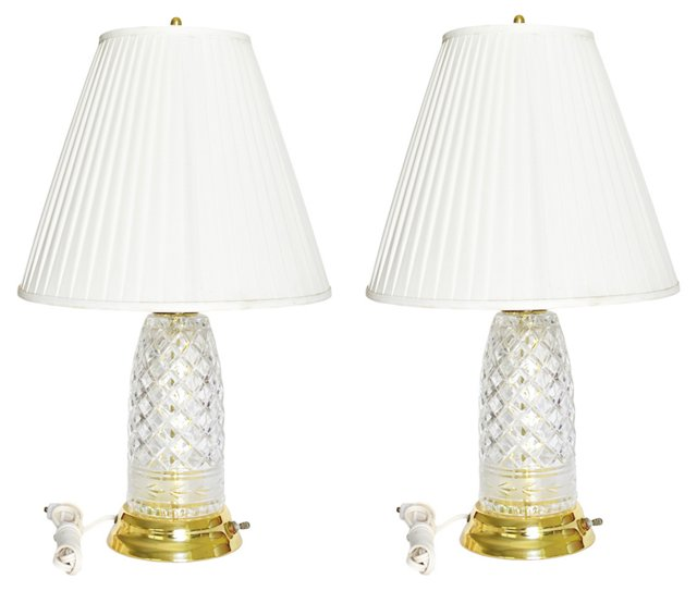 Cut-Crystal & Brass Lamps, Pair