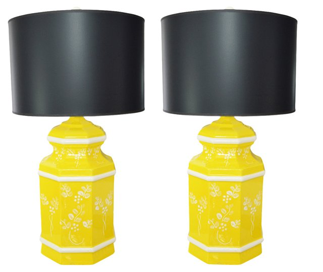 Yellow Ceramic Lamps, Pair