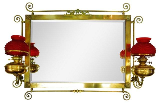 Antique Tiffany-Style Brass Mirror