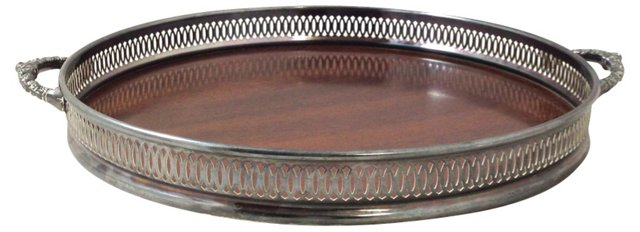 Rosewood Tray w/ Silverplate Gallery