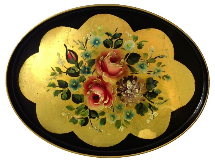 Gold Leaf Toleware Tray