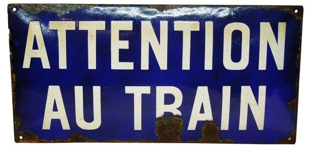 French Porcelain Enamel Train Sign