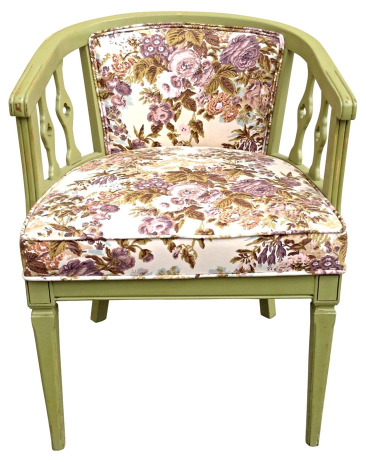 Green Chair w/ Floral-Print Upholstery