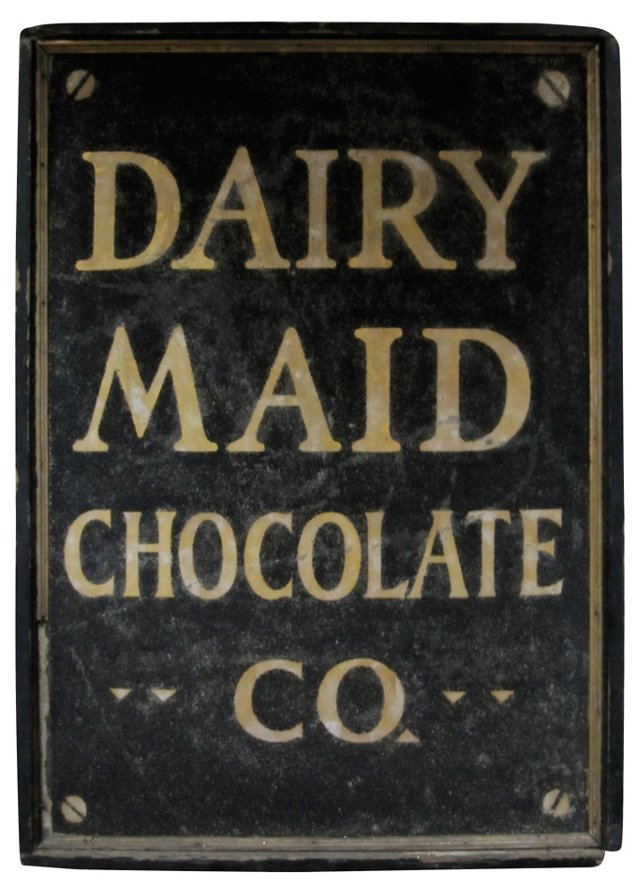 Early-20th-C. Dairy Maid Chocolate Sign