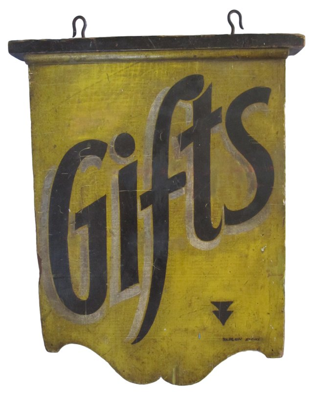 Early-20th-C. Gifts Sign