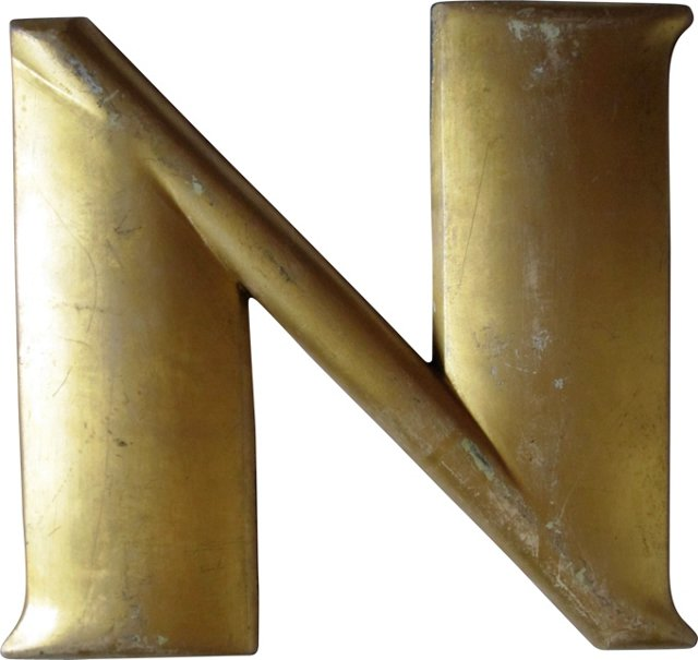 Antique Gilt Letter N