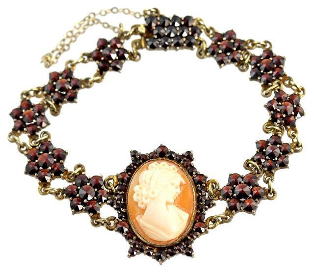 Silver & Garnet Cameo Bracelet