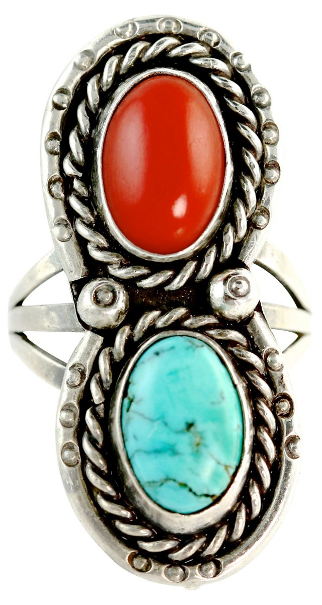Navajo Coral & Turquoise Ring