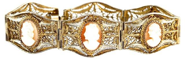Silver Filigree Cameo Bracelet