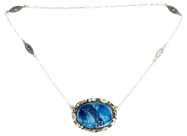 Art Nouveau Lapis Necklace