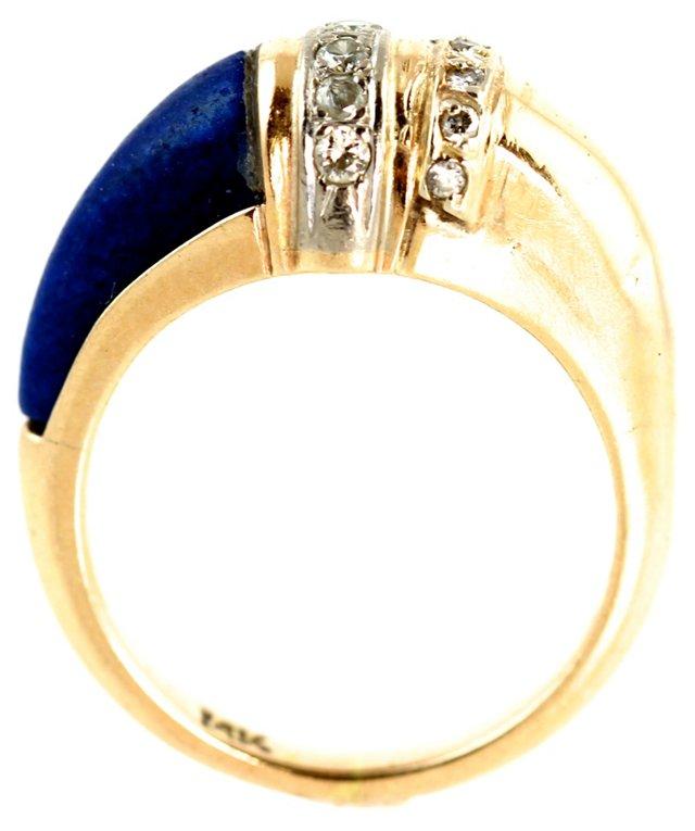Art Deco Gold Lapis Lazuli Ring