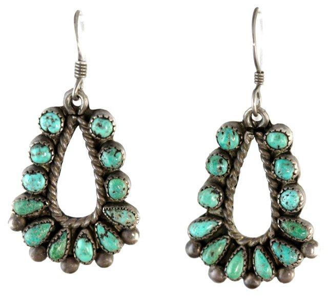 Navajo Petit-Point Turquoise Earrings