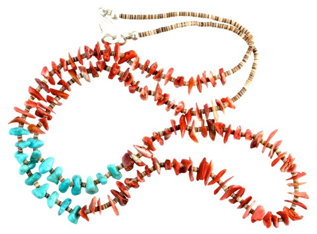 Turquoise & Coral Heishi Necklace