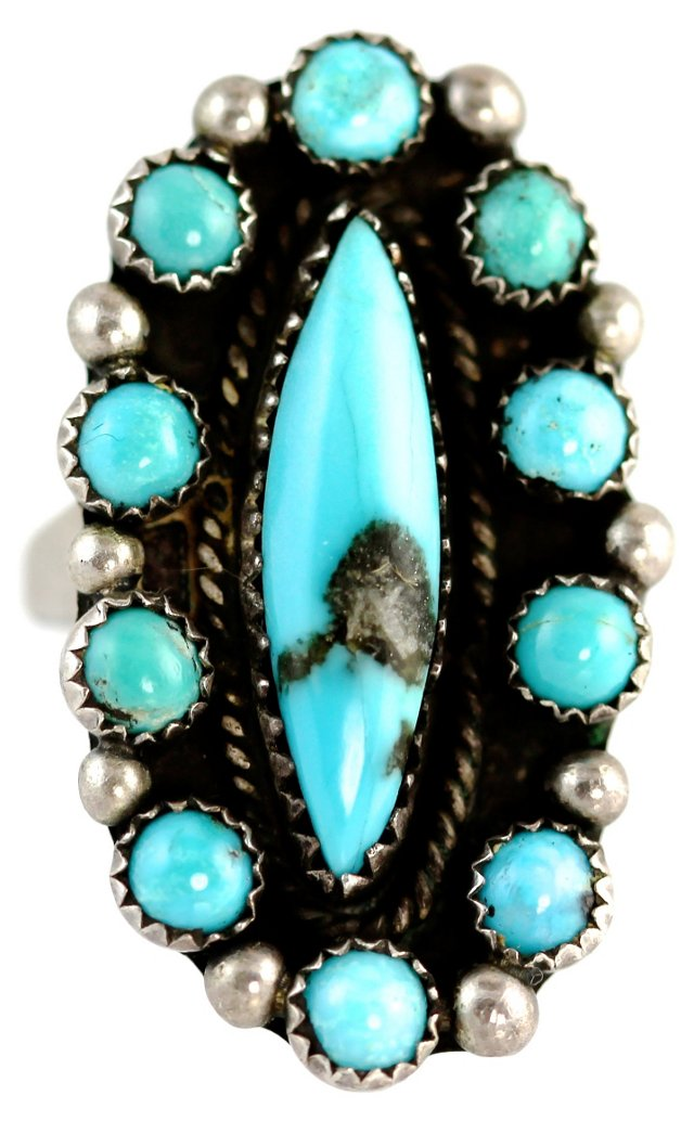 Turquoise Rosette Ring