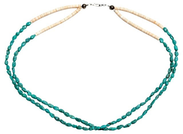 Turquoise & White Heishi Necklace