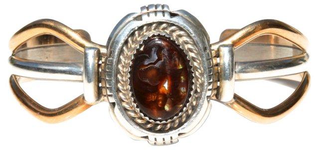 Navajo Silver Fire Agate Bracelet