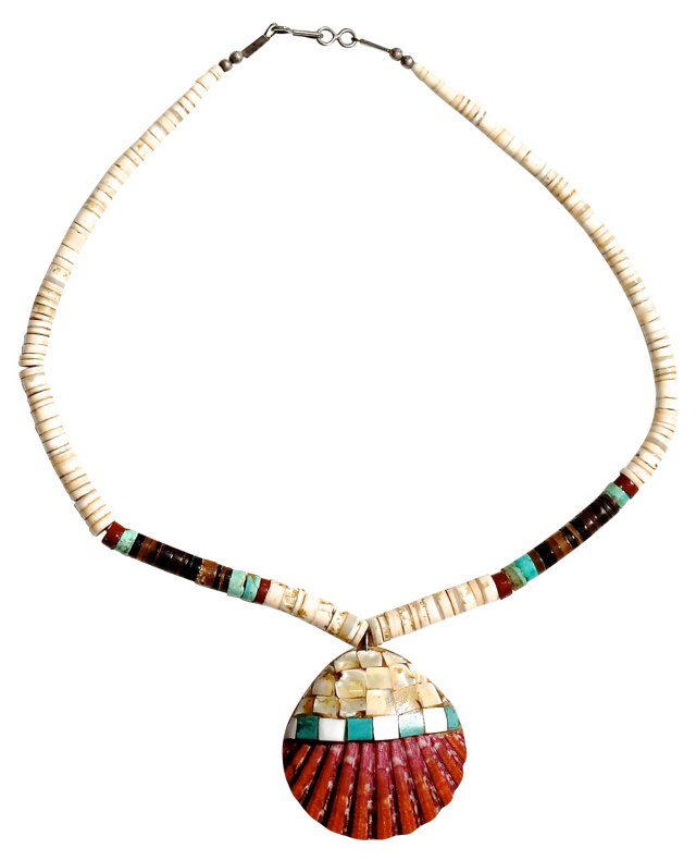 Heishi & Mosaic Shell Necklace