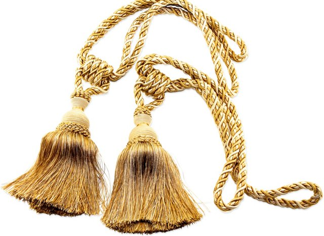 Gold Tassel Drapery Tie-Backs, Pair