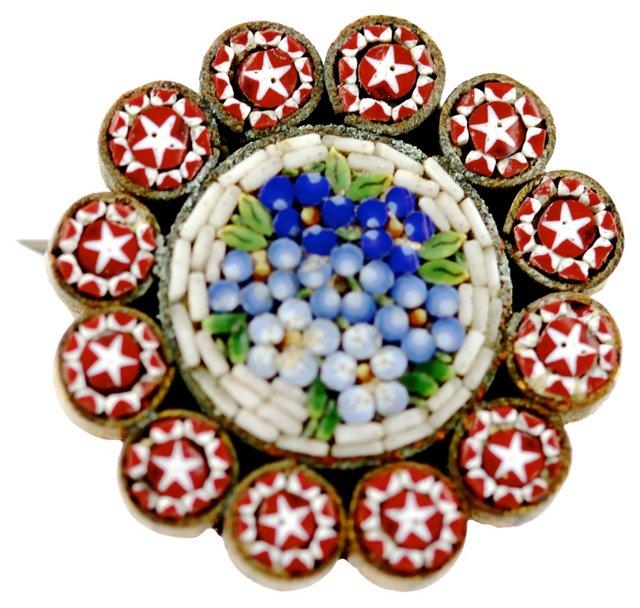 Italian Millefiori Floral Brooch