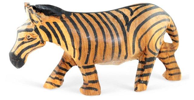 African Carved-Wood Zebra Figure