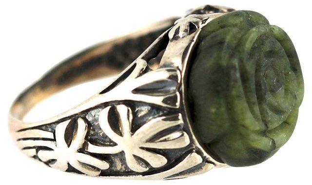 Irish Moss Agate & Silver Ring