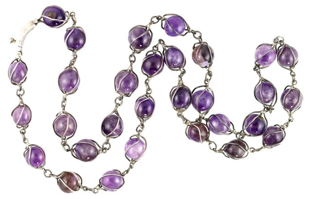 Silver & Amethyst Cage Necklace
