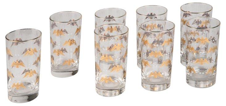Gold Eagle Highball Glasses, Set of 8