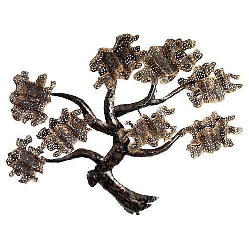 Brass & Metal Tree Wall Art Sculpture