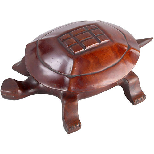 Hand-Carved Wood Turtle Container