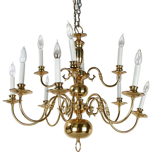 Massive Brass Chandelier w/ Canopy