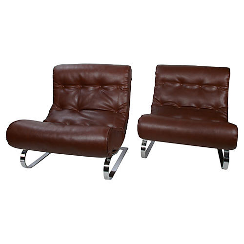 Italian Formanova Lounge Chairs, Pair
