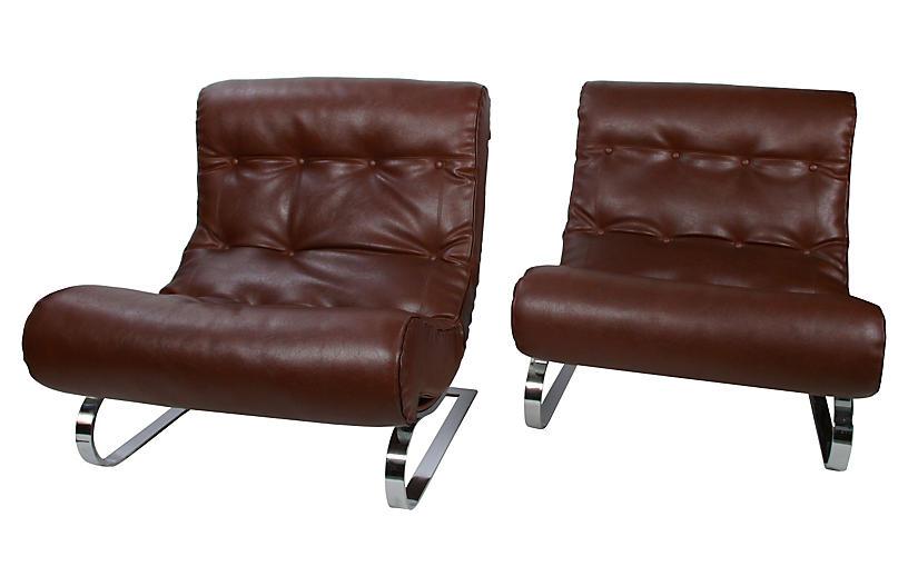 Italian Formanova Lounge Chairs, Pair