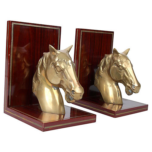 Brass Horse & Rosewood Bookends