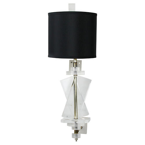 Lucite & Brass Wall Sconce