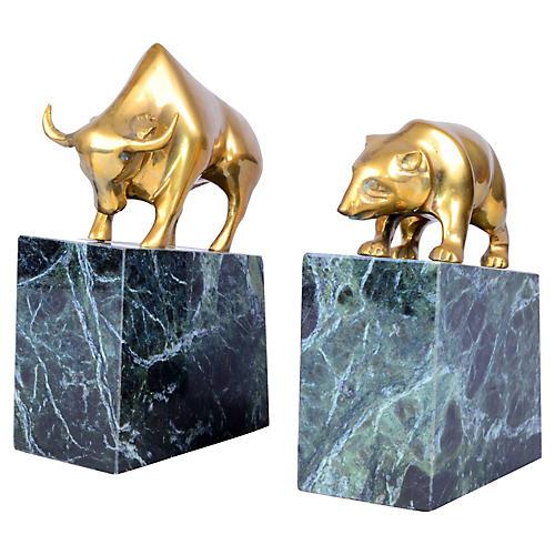 Brass Bull & Bear Bookends, S/2