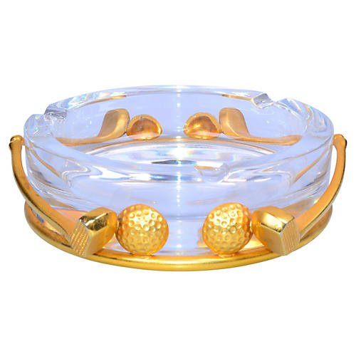 Crystal & Gold-Plated Golf Clubs Ashtray