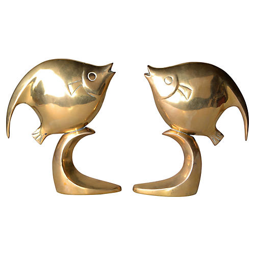 Polished Solid Brass Fish Bookends
