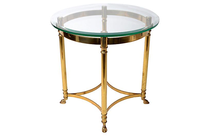 Italian Brass & Glass Hoof Feet Table