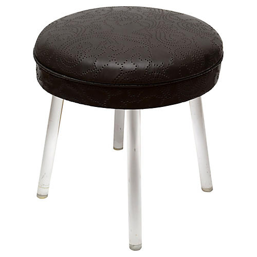 Lucite Swivel Stool w/ Leather Seat