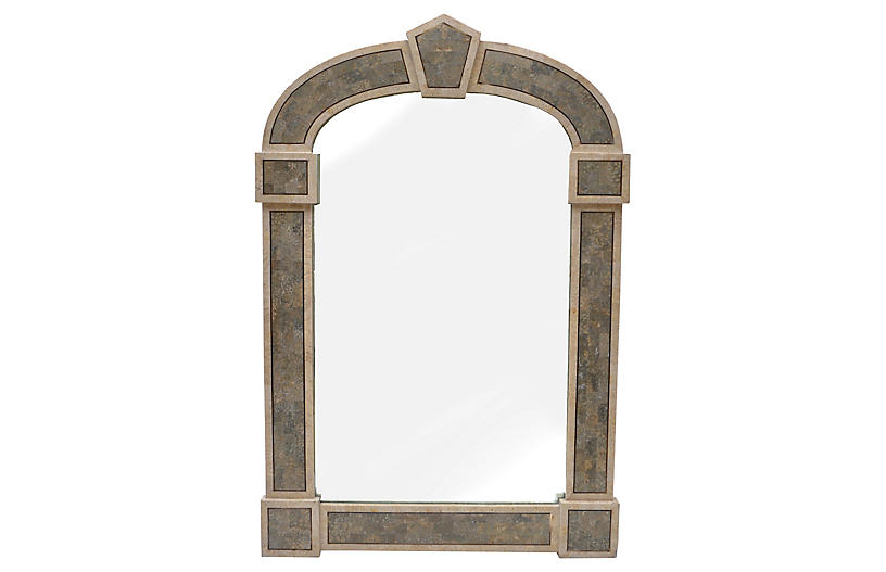 Gothic-Style Tessellated Stone Mirror