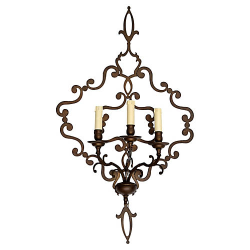 Italian Wrought Iron 3-Light Sconce