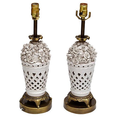 Porcelain & Bronze Table Lamps, S/2