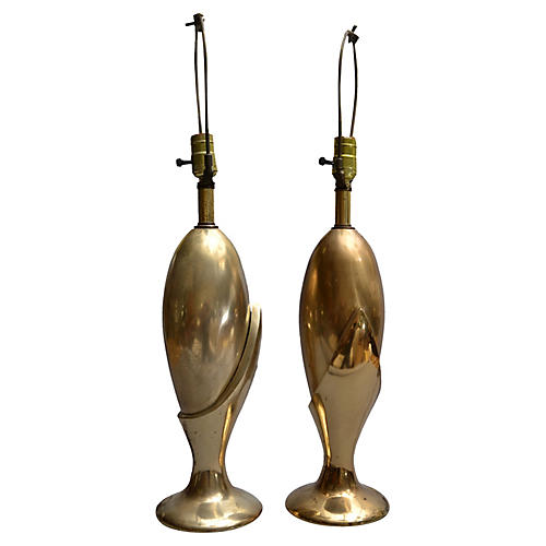Heyco Art Deco Brass Table Lamps, Pair