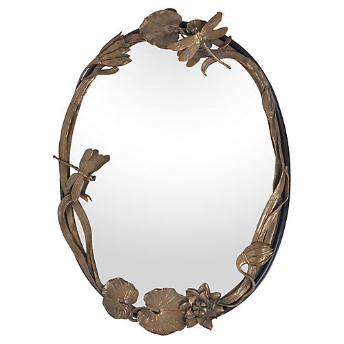 Oval Bronze Wall Mirror