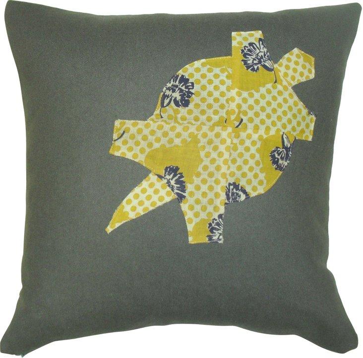 Gray Wool Turtle Pillow