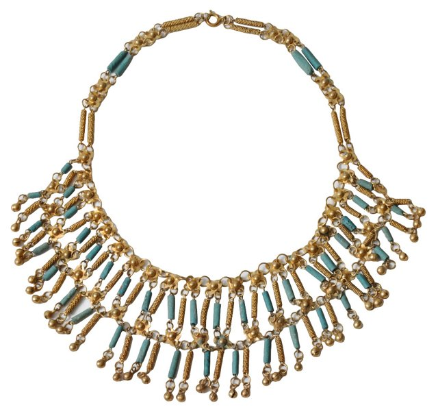 Brass Egyptian Revival Bib Necklace